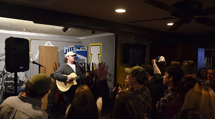 Luke Combs plays at Klondike Saturday. Combs is originally from Asheville and is a senior at Appalachian State University. Mark Kenna | The Appalachian