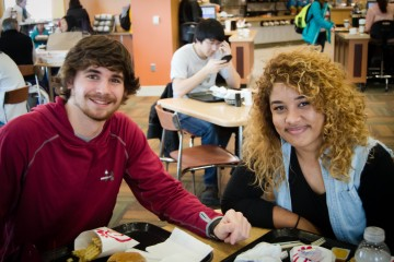 Jameilyara Moore a Junior studio art major sat down with Ryan Gladstone a freshman Electronic Media Broadcasting major to have lunch and get to know him. It is a way to get to know your fellow mountaineers. Picture by Sarah Hawley.