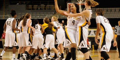 App State women's basketball celebrates after their home win over Arkansas State by a final score of 70-69. Justin Perry | The Appalachian