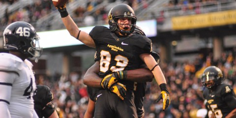 Wide receiver Simms Mcelfresh celebrates a well executed play during a football game last Fall at the Kid Brewer Stadium. File Photo     The Appalachian