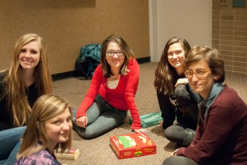 Group of students playing board games at the international student coffee hour in the whitewater cafe. Photo by Charlie Montero  |  The Appalachian