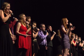A cappella group Enharmonix performs at Acappellageddon Sunday night at the Schaefer Center for the Performing Arts. Photo by Maggie Davis  |  The Appalachian