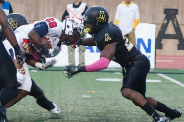 Defensive back Joel Ross at the football game against Liberty University. Photo by Paul Heckert  |  The Appalachian
