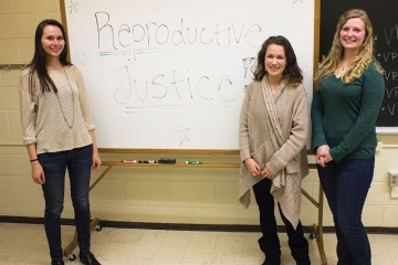 The Reproductive Justice Club held its first meeeting on Thursday, January 22nd and was lead by Anna Lobastova (far left) and Maddie Majerus (far right). The club was created to educate and get people engaged on the issue of environmental, racial, sexual, gender, and economic justice that takes it beyond the talk of pro-choice and pro-life. Photo by Halle Keighton  |  The Appalachian