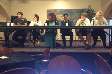 """(Left to right) Cele Rodriguez, Nathalia Ruiz, Ty White, Joshua Carr, Patrick Long and Maddie Majerus served as panel members during Phi Beta Sigma's """"Think Like a Man, Think Like a Woman, and Everyone in Between"""" event on Thursday evening."""