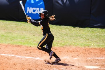 Senior outfielder Dani Heichen connects for a triple during game three of App State's home series against UT Arlington. The Mountaineers (9-21, 0-12) were swept by the Mavericks.  Gerrit Van Genderen | The Appalachian