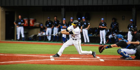 Junior infielder Dillon Dobson follows through on a double against Georgia State in early April. Dobson has hit .406 over the past eight games with seven RBIs. Photo by Gerrit van Genderen  |  The Appalachian