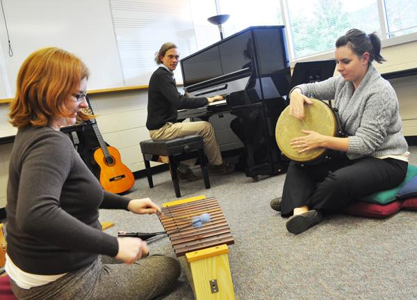 Supervisor of the music therapy program Caroll Greene plays with music therapy graduate student Tim Honig and Jacquelyn Blankenship. The music therapy program is open to all ASU students and takes place in Broyhill Music Center Tuesday afternoons from 3:30-4:20. Maggie Cozens | The Appalachian
