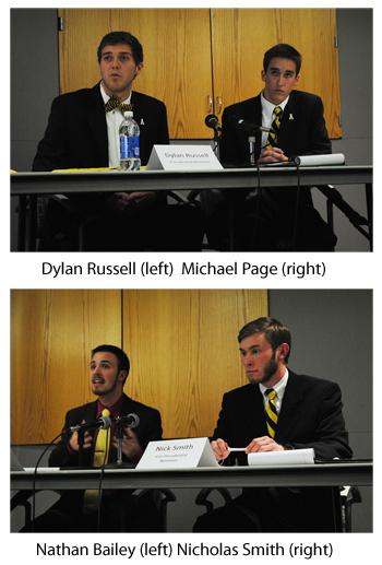 Nominees for SGA president and vice president faced off in a debate Tuesday night. photos by | Nicole Debartolo