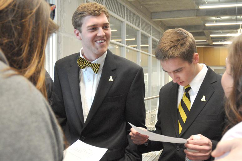 Presidential candidate Dylan Russell and his vice presidential running mate Michael Page read the official results of the SGA elections. Russell and Page won with 80 percent of the vote. Justin Perry | The Appalachian