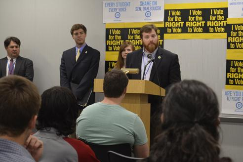Boone Town Councilman and Appalachian alumnus Andy Ball address the kick-off press conference for the College Democrat-sponsored 'I Vote' campaign Wednesday in Plemmons Student Union. Aniesy Cardo | The Appalachian