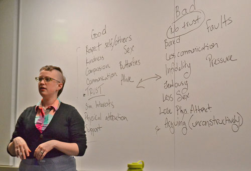Graduate student Karen Arthur presents at the LGBT Center-sponsored discussion on sexual harassment. Mark Kenna | The Appalachian