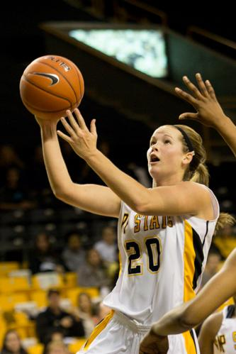 Junior guard Katie Mallow swoops through the paint for a layup in the home double-header as App State lost to ETSU 81-72. Mallow finished with 19 points, tying the team high. Paul Heckert | The Appalachian