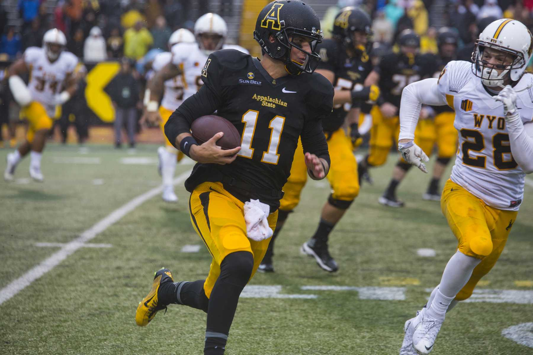 Taylor Lamb in a game against Wyoming last season. Photo by: Chris Deverell