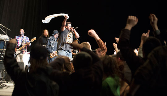 Craig Robinson and The Nasty Delicious perform Sunday evening in Holmes Convocation Center. Members of the audience rushed the floor for a dance party during the second half of the show. Photo by Olivia Wilkes  |  The Appalachian