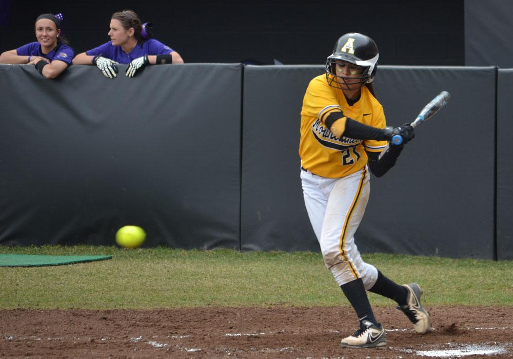 Junior second baseman Cynthia Gomez swings at a pitch during a game against Western Carolina earlier this season. Gomez ranks second on the team with a batting average of .340 this season. Photo by Corey Spiers  |  The Appalachian