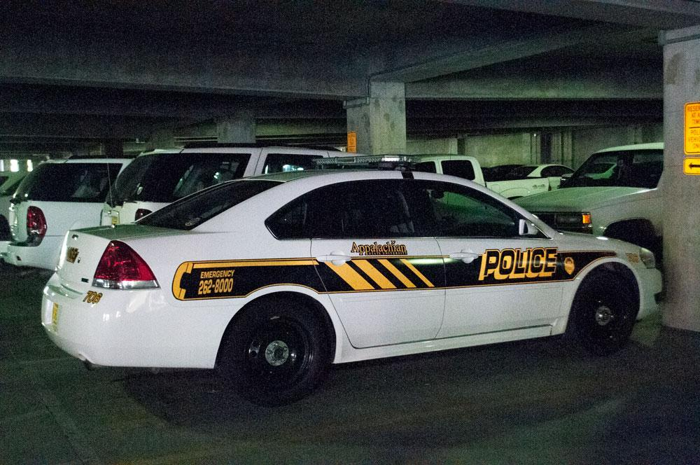 A campus police vehicle in the Rivers Street Parking Deck. University Police is located in the Rivers Street Parking Deck building. Photo by Morgan Cook  |  The Appalachian
