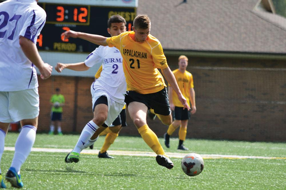 Sophomore defender Zach Joens playing in the Fall 2013 soccer game against Furman University. File Photo  |  The Appalachian