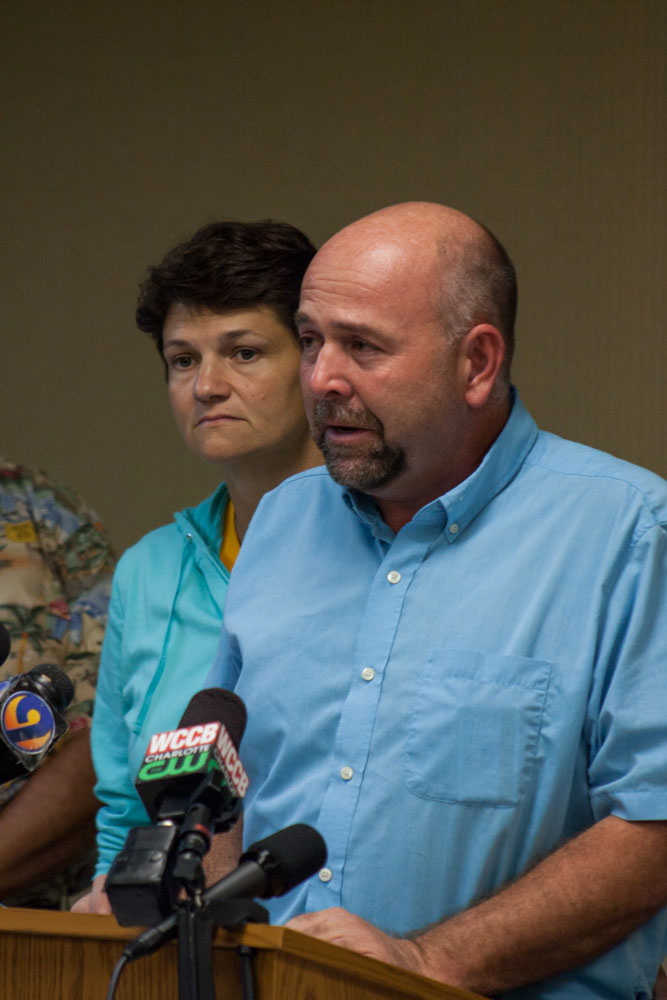 Missing student Anna Smith's parents Dan and Laurie Smith give statements at a press conference Wednesday evening at Fairfield Inn. Photo by Rachel Krauza  |  The Appalachian