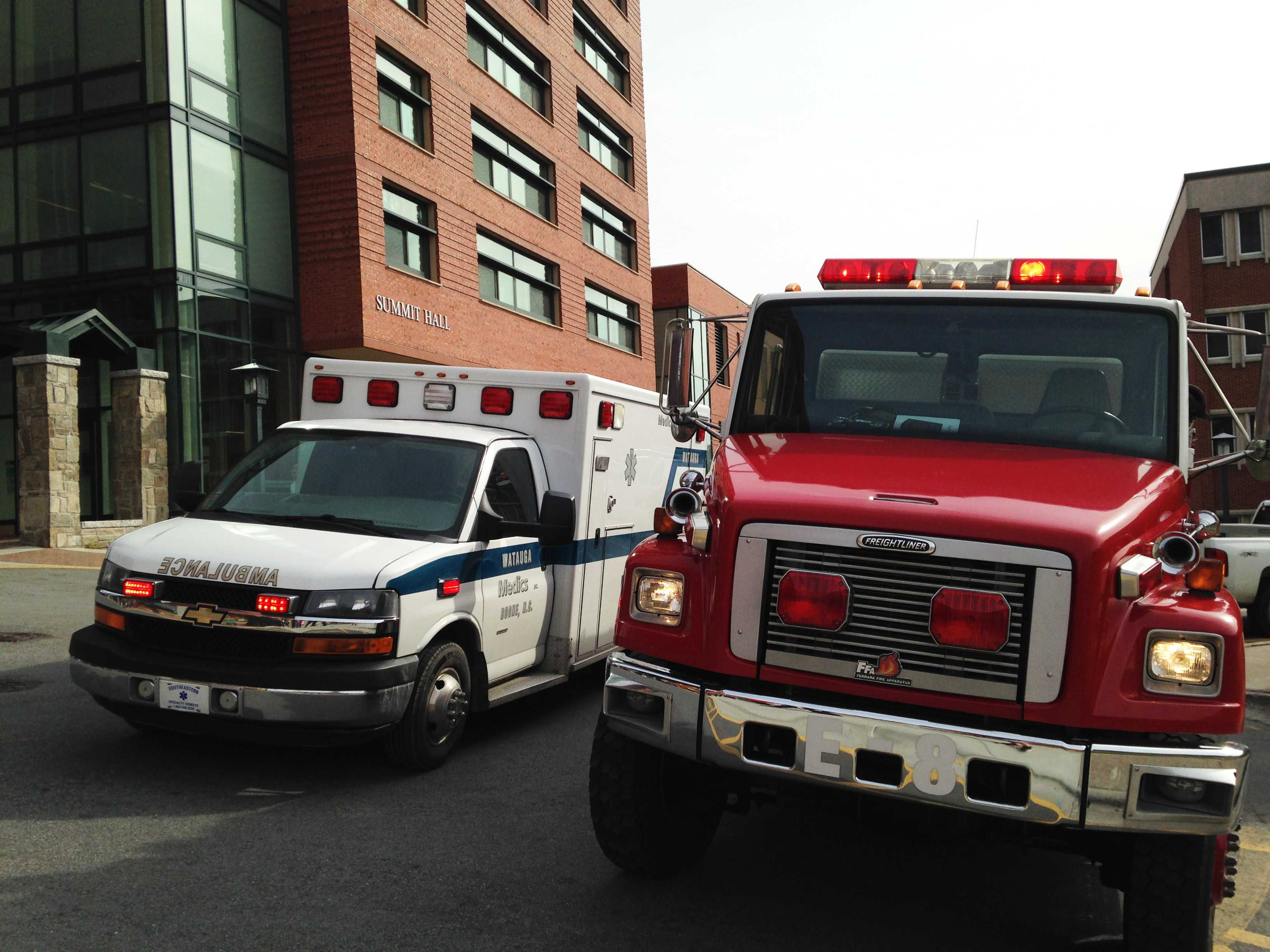 A Boone Fire Department fire truck and a Watauga Medics ambulance arrived on scene after Plemmons Student Union was evacuated Tuesday morning.