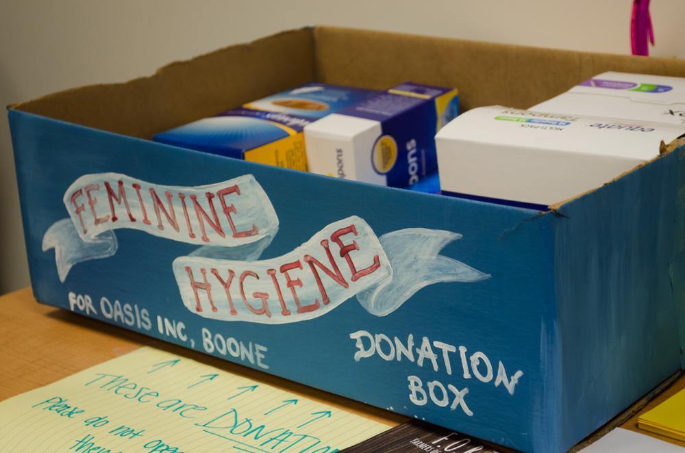 A box in the Women's Center in Plemmons Student Union being used to collect feminine hygiene products for the Feminine Hygiene Drive. Photo by Morgan Cook  |  The Appalachian