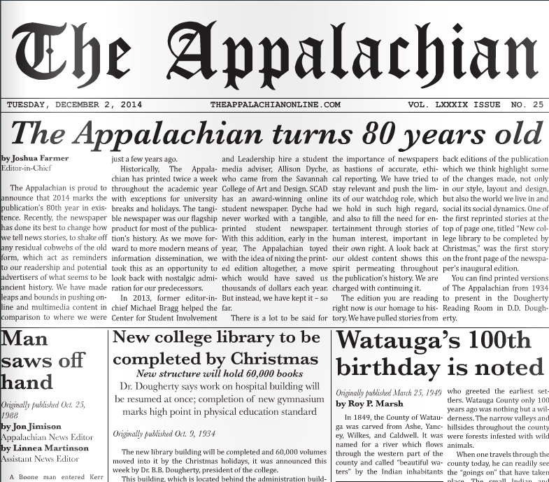 The Appalachian turns 80 years old