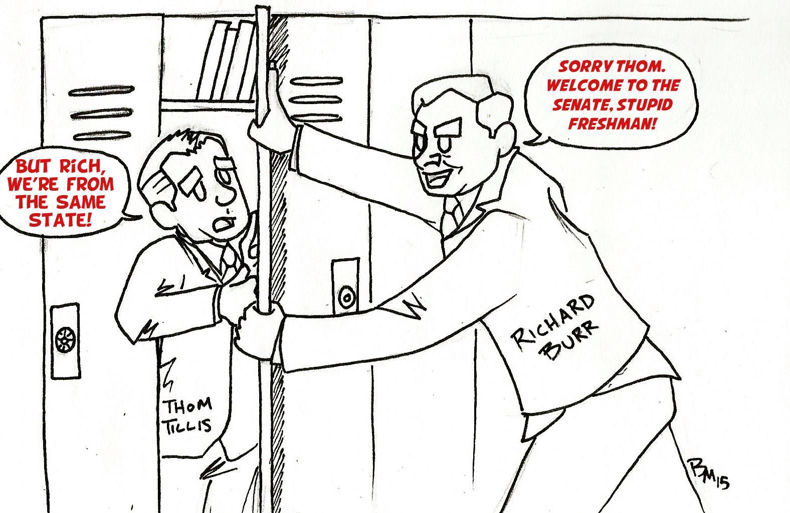 Editorial Cartoon: Burr bullies Tillis