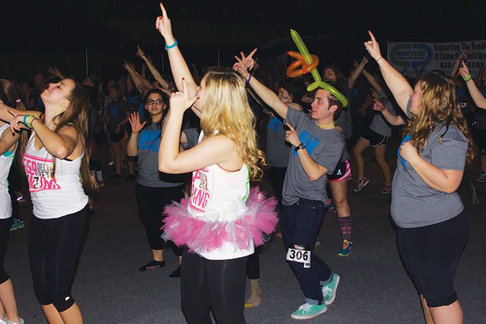 People dancing during the group portion of Dance Marathon where they all learned a dance together. Dance Marathon was held in Holms Convication Center and it started on Saturday, February 21st at 10am and it ended the next morning at 1am.