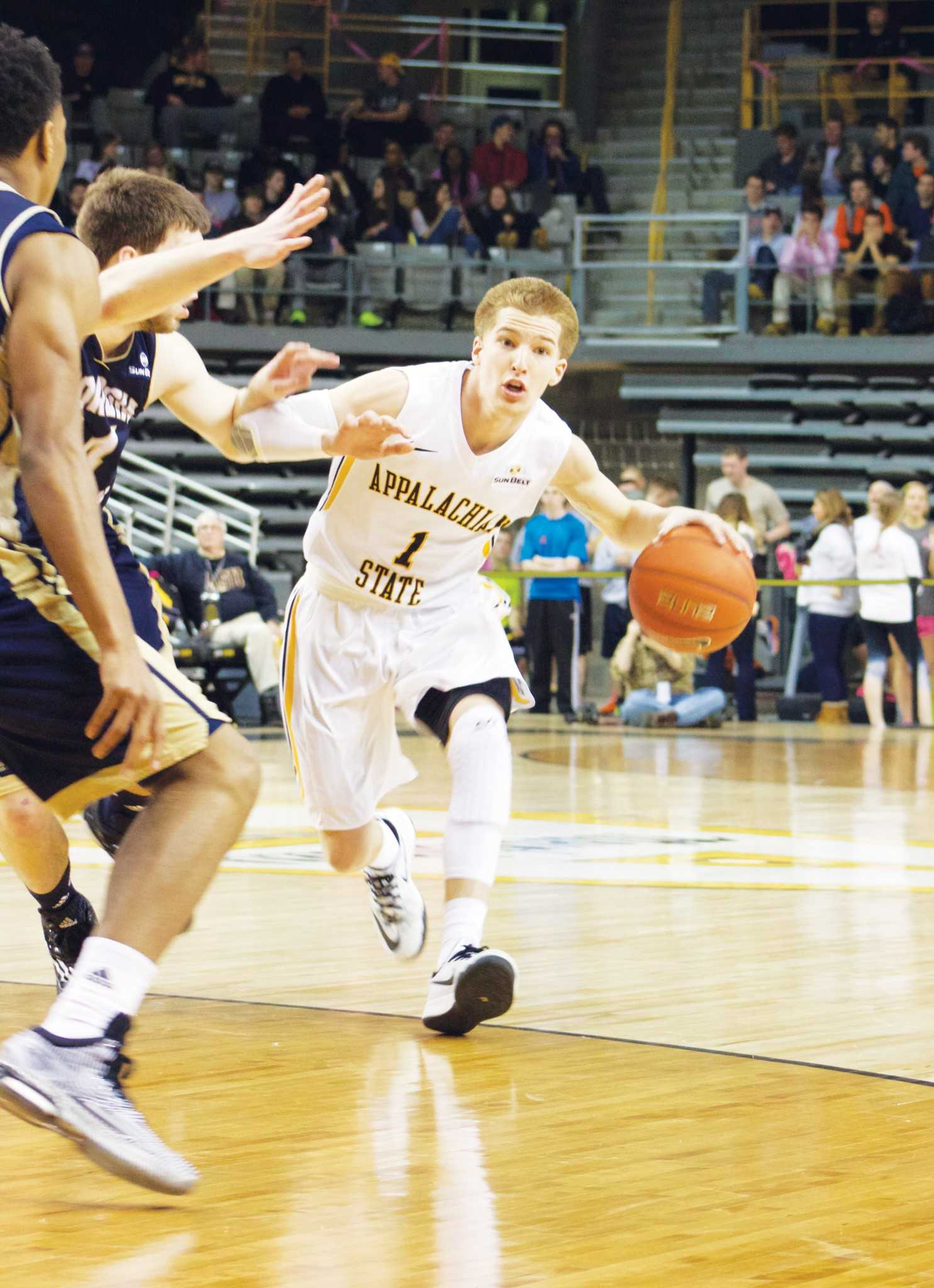 App State's Landon Goesling looks to enter the paint against Georgia Southern on Thursday night. The Mountaineers were defeated by the Eagles 77-58.
