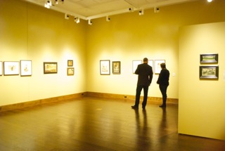 Patrons appreciating the art at Blowing Rock Art and History Museum  in downtown Blowing Rock.