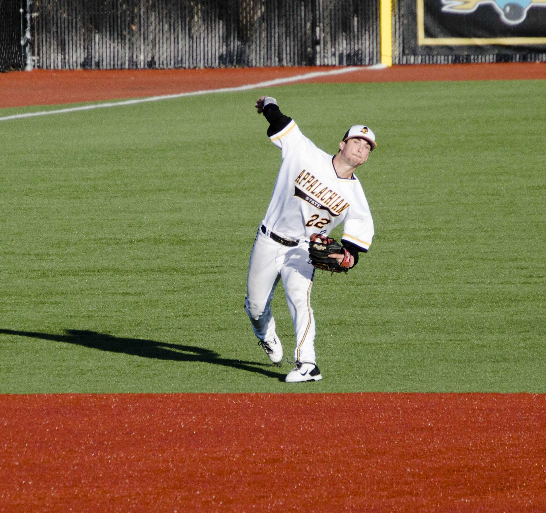 Senior middle infielder Michael Pierson makes a play in the hole against Wake Forest March 25. Pierson went 1-3 with an RBI against High Point last night in the 8-3 App State win.
