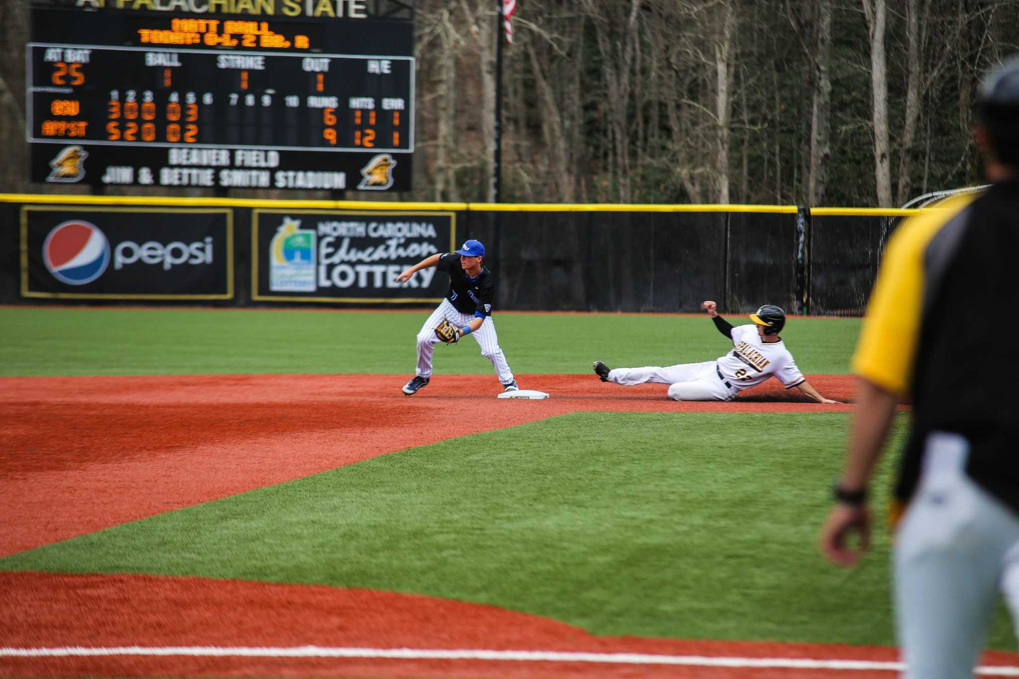 Senior infielder Michael Pierson slides into second base safely during the fifth inning of game two against Georgia State last weekend. Pierson (3-3, three RBI) raised his team-leading average to .355 after the performance. Photo: Gerrit Van Genderen | The Appalachian