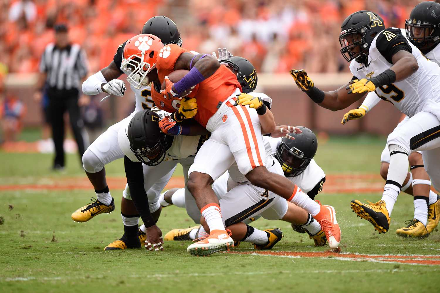 The Appalachian State defense saw a lot of playing time as they tried to slow down the high-octane offense of nationally ranked Clemson. The Mountaineers lost to the Tigers, 41-10. Justin Perry | The Appalachian