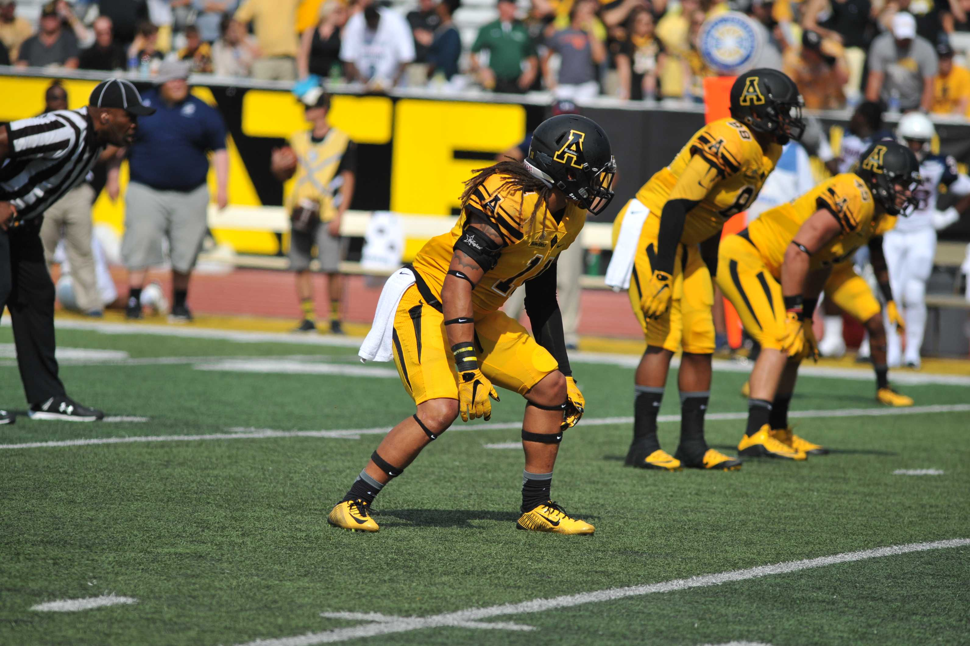 Sophomore linebacker Devan Stringer awaits the snap to rush the passer in App State's home opener against Howard. The Mountaineers won 49-0.   Credit: Appalachian State athletics/Dave Mayo