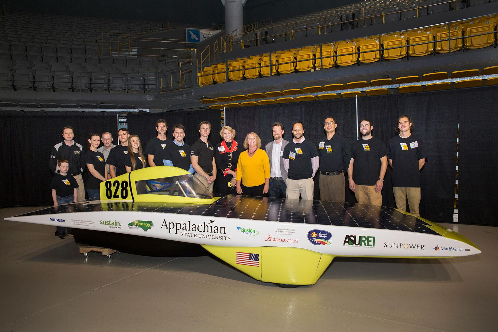 The App State Solar Vehicle Team nearly completed their solar vehicle for the Formula Sun Grand Prix in about six weeks, a feat that normally takes most teams close to two years. The car was not completed in time to compete, however the team considers the fact that they were able to complete the vehicle as a major accomplishment, and the team was awarded the perseverance award.   | Photo courtesy: Marie Freeman