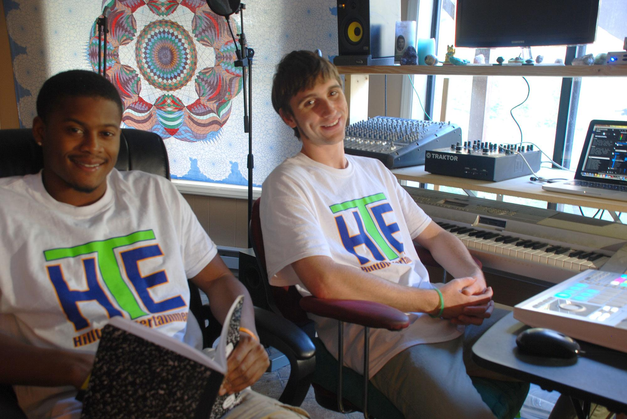 Matthew Helton (left) and Alex Reese (right) pose for a photo in the studio. Photo courtesy of Hilltop Entertainment