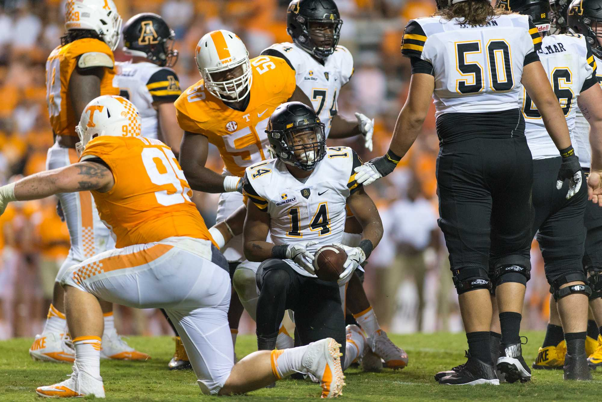 Cox stands up after running with a carry against the Vols. Cox finished with 115 yards. Photo by Dallas Linger