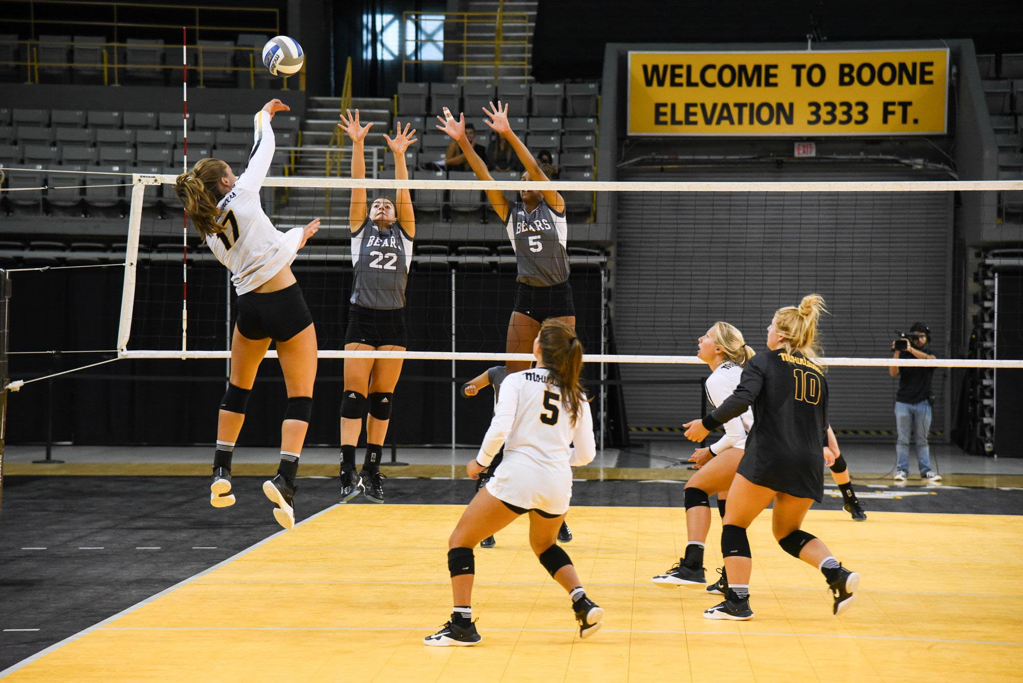 Redshirt+sophomore+Melissa+McMath+goes+up+for+the+kill+against+Missouri+State.+The+Mountaineers+lost+the+game+with+the+final+score+being+2-3.
