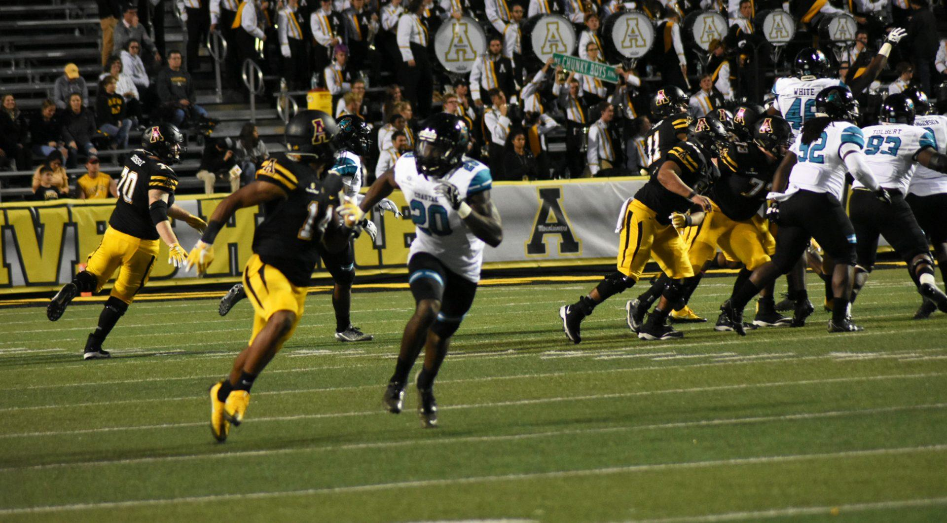 Appalachian+State%27s+offense+during+a+pass+play+against+Coastal+Carolina+at+Kidd+Brewer+Stadium.+Mountaineers+win+37+to+29.+