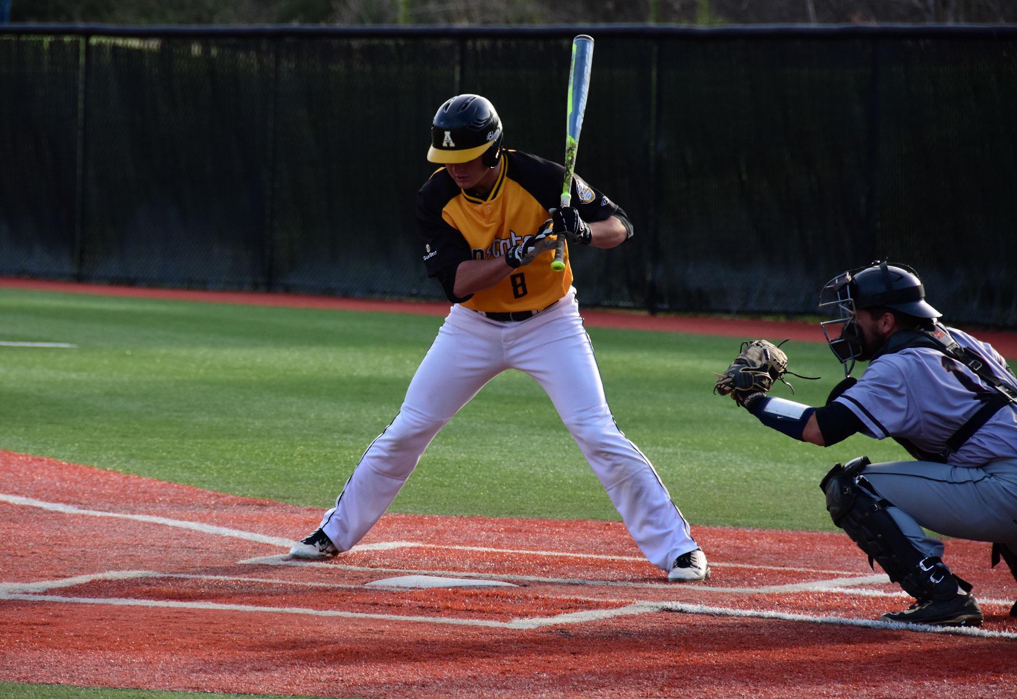 Senior Brain Bauk up to bat, ready to hit the ball during a home game last season.