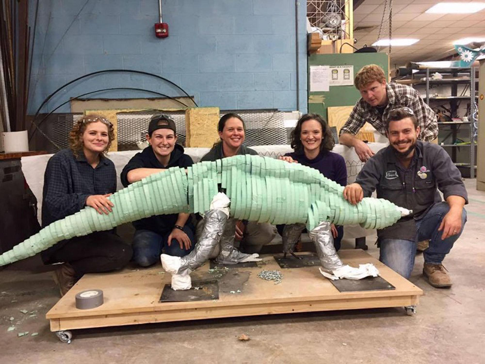 The+students+of+the+Intermediate+Advanced+Sculpting+Class+lead+by+Travis+Donovan+created+this+dinosaur+sculpture.