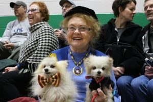 Marcel Wiseman Valencia and her two dogs, Bairen's Bonnie Prince (left) and Mon Coeur (Man Of My Heart) (right) who both competed for Cutest Dog