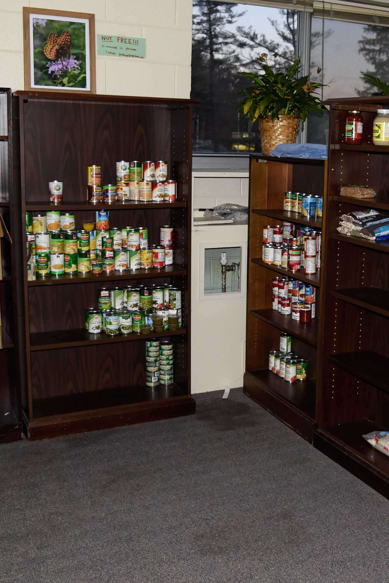 The Office of Sustainability's food pantry. The pantry is located on campus in the basement of East Hall.