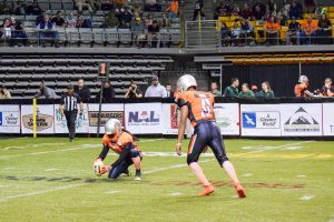 Michael Lima kicking an extra point for the Grizzlies. The Grizzlies are an indoor football team.