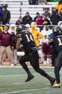 Senior Running Back, Marcus Cox, runs the ball down the field during the game against UL Monroe. The Mountaineers defeated UL Monroe with the final score being 47-17. Cox is now Appalachian State's all time leading rusher.