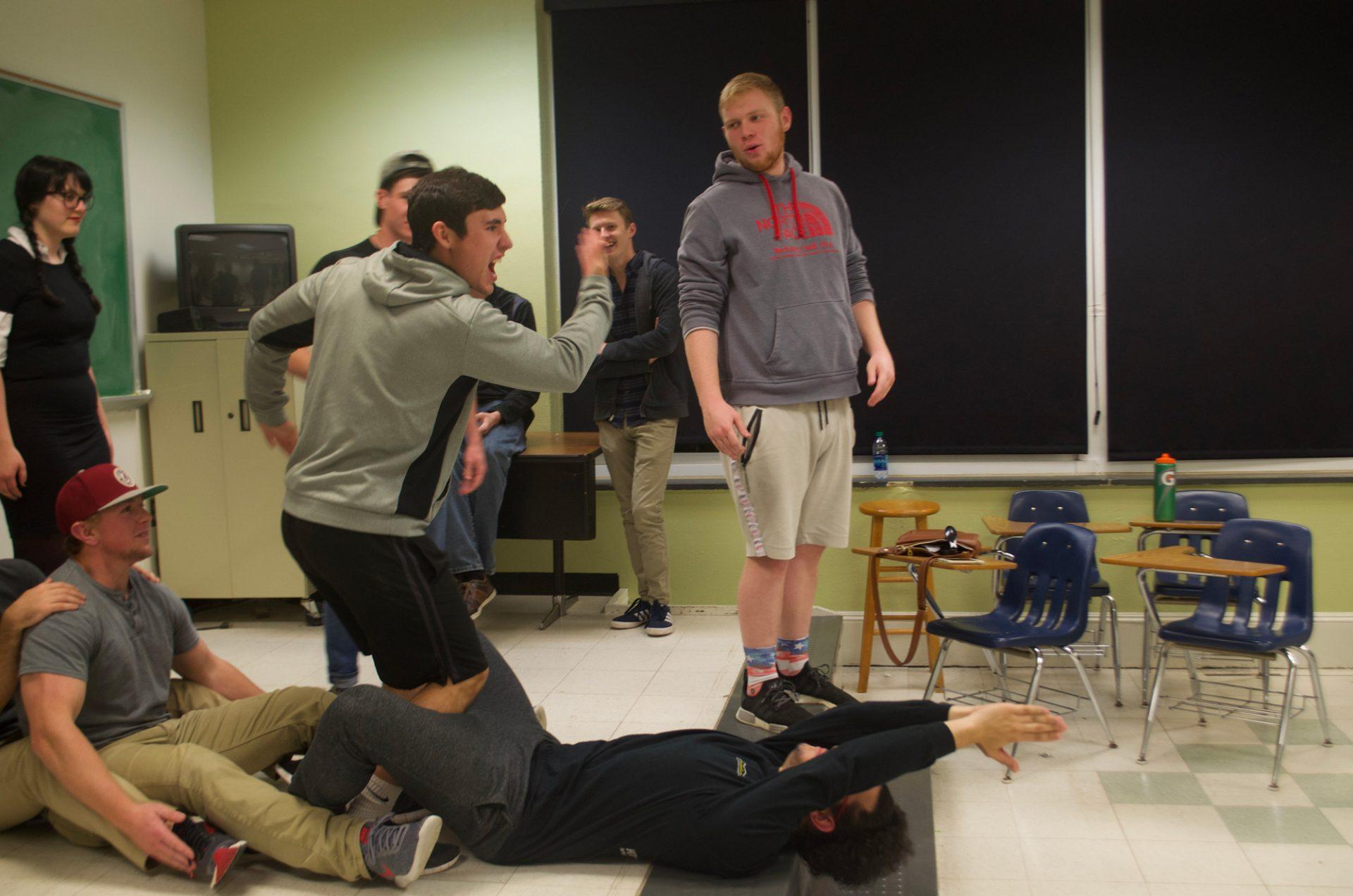 The+members+of+NouN+rehearsing+in+a+classroom.+NouN+is+Appalachian+State%E2%80%99s+only+improv+comedy+theater+group.+