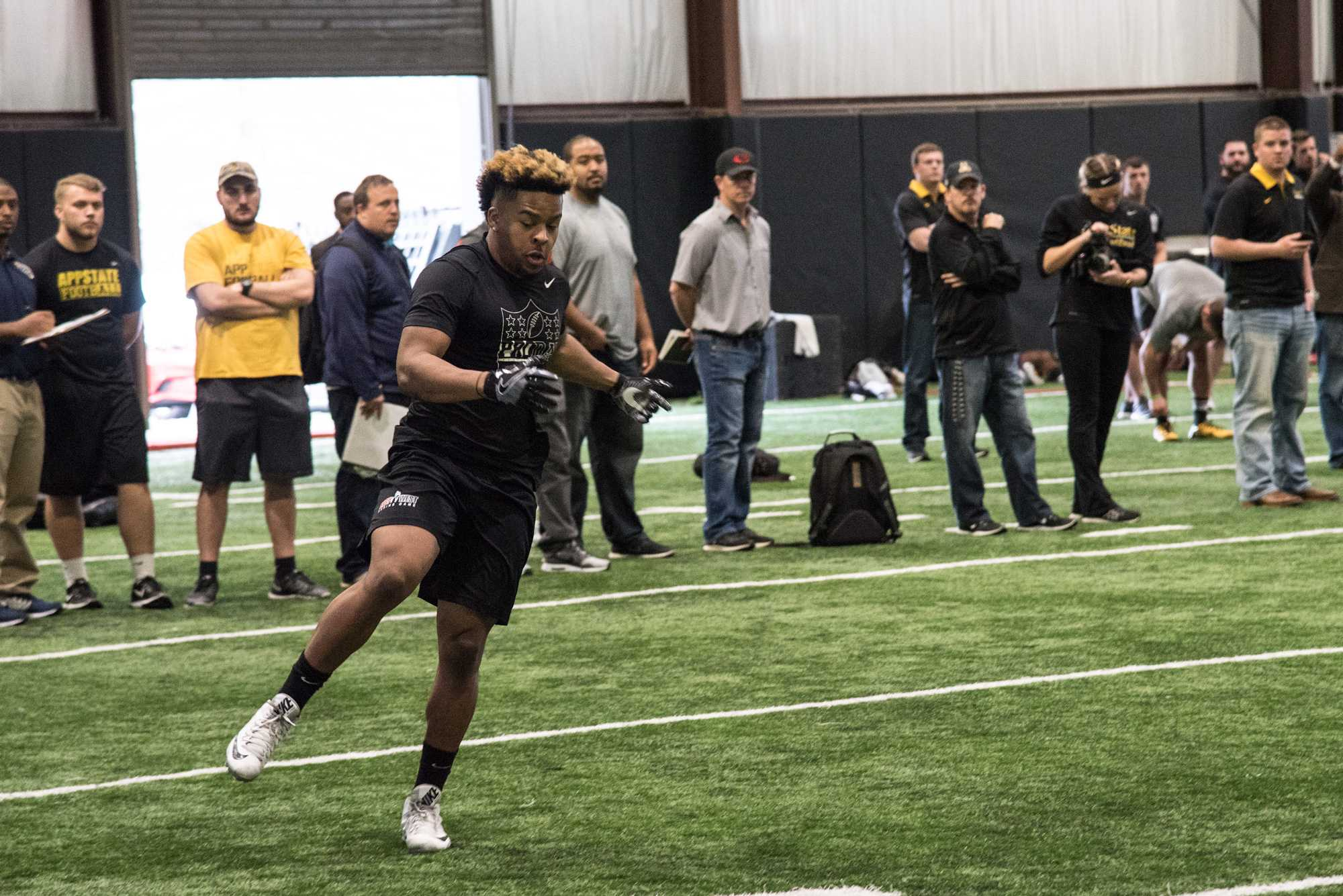 Marcus Cox during a drill at Pro Day.