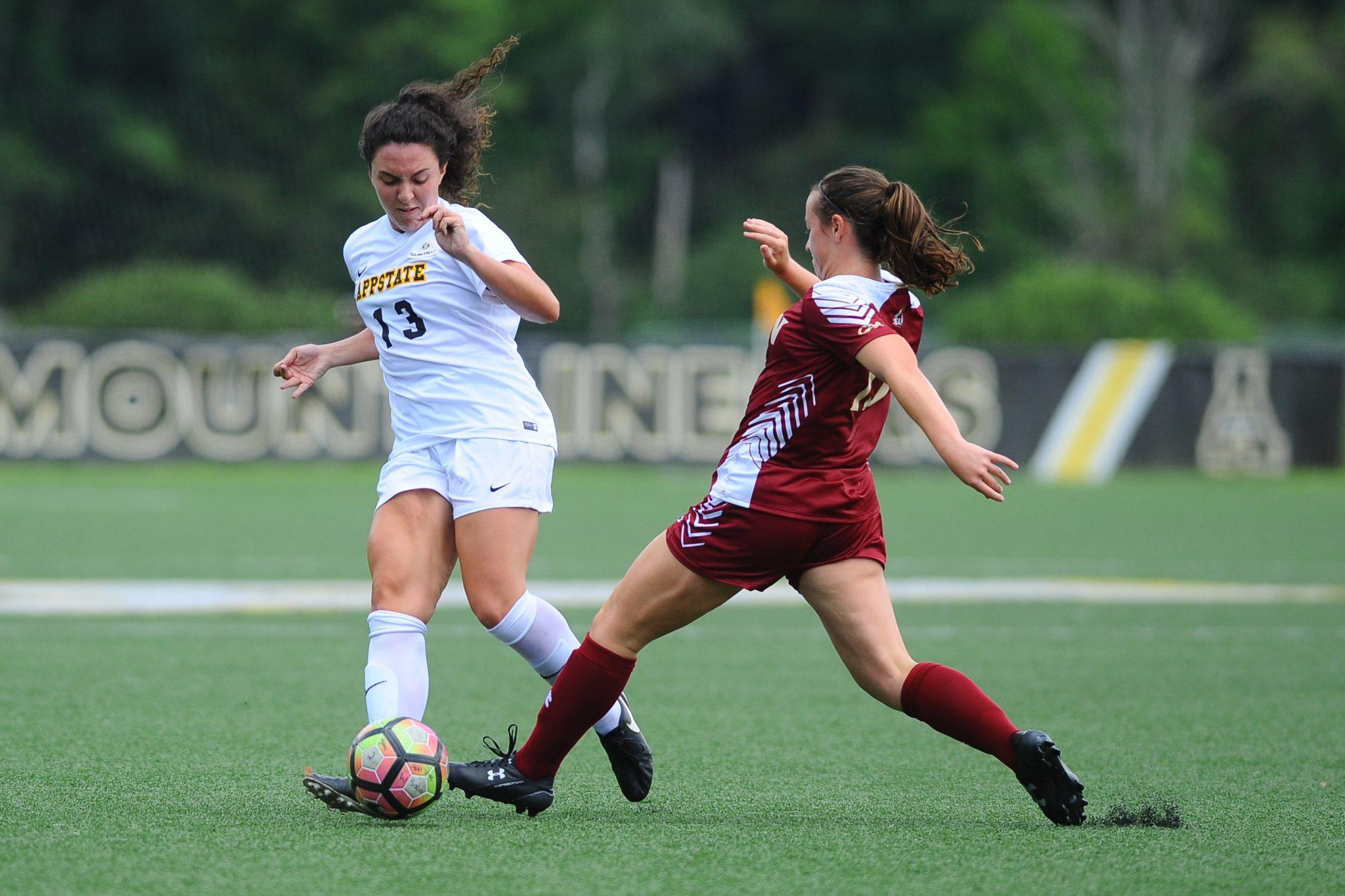 Appalachian State women's soccer takes on Elon in a preseason exhibition match at the Ted Mackorell Soccer Complex on Saturday, August 13, 2016 in Boone, North Carolina. Photo Courtesy: Tim Cowie