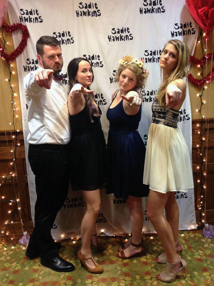 (From left to right) Chris Horne, Sarah Jeter, Sarah Robinson, and Erin Muir pose for a photo during last year's Sadie Hawkins dance hosted by the Reformed University Fellowship. Photo courtesy Olivia Shields.