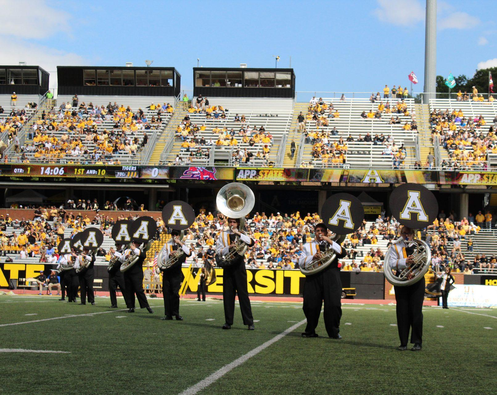 The Marching Mountaineers perform the National Anthem at the first home football game of the 2017 season.